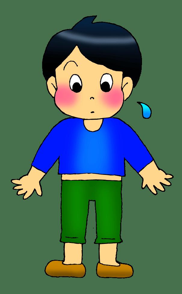 服が小さい子供のイラスト